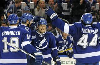 Sami Salo, B.J. Crombeen, Victor Hedman, Nate Thompson 