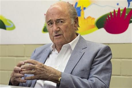 FIFA President, Sepp Blatter, speaks during a press conference in Ulrichen, Switzerland, Saturday, Aug. 9, 2014. Blatter has challenged his critics to