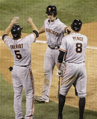 Buster Posey Ryan Theriot Hunter Pence