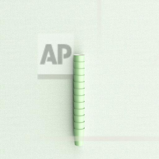 3D rendering, Stacked green plasic cups on green background