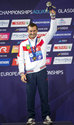 Russia's Aleksandr Bondar poses on the podium after winning gold medal in the Men's 10m Platform Final during the European Championships at the Royal Commonwealth Pool in Edinburgh, Scotland, Sunday Aug. 12, 2018. (Ian Rutherford/PA via AP)