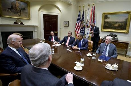 Barack Obama, Timothy Geithner, Harry Reid, John Boehner, Joe Biden, Nancy Pelosi, Mitch McConnell