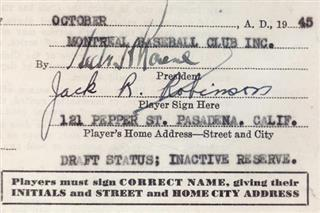 Jackie Robinson Contracts