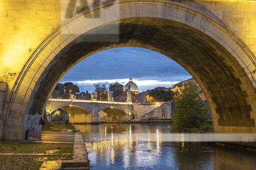Italy, Rome, Vatican, St. Peter's Basilica and Ponte Sant'Angelo in the evening