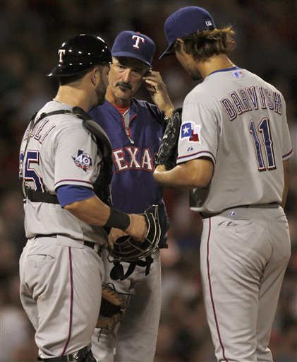 Mike Napoli, Mike Maddux, Yu Darvish, 