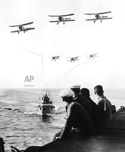 Planes Fly over H.M.S. Furious