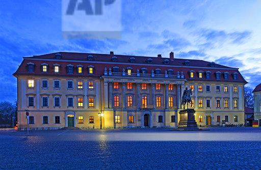 Germany, Thuringia, Weimar, Anna Amalia Library at blue hour