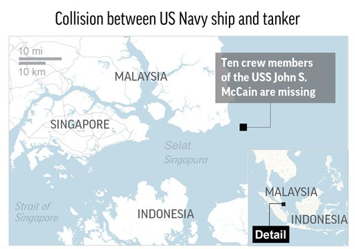 Navies search for 10 US sailors as 7th Fleet review ord