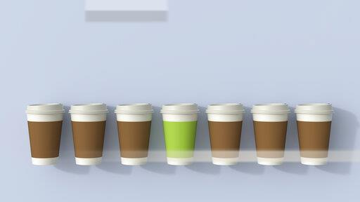 3D rendering, Row of disposable coffee cups with a green outsider
