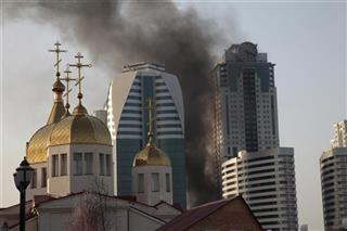 Russia Fire in Grozny
