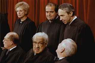 Sandra Day O'Connor, Antonin Scalia, David Souter, John Paul Stevens, Thurgood Marshall, William Rehnquist
