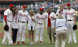 Ryan Howard, Carli Lloyd , Chase Utley,Heather Mitts , Jimmy Rollins, Jordan Burroughs , Susan Francia, Cole Hamels