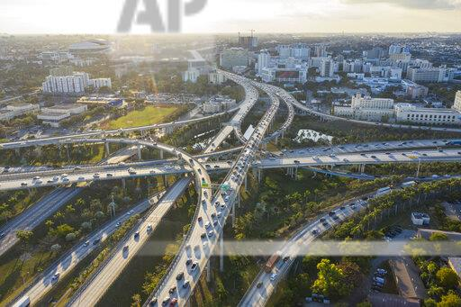 Highway intersections, aerial view, Miami, Florida, United States
