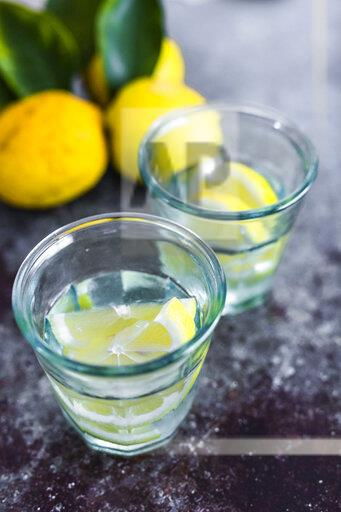 Glasses of homemade lemonade