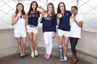Gold Medal-Winning US Women&#039;s Gymnastics Team Light the Empire State Building&#039;s Tower Lights Red White &amp; Blue in Honor of Team USA