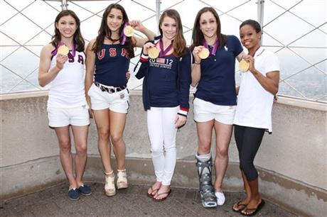 Gold Medal-Winning US Women's Gymnastics Team Light the Empire State Building's Tower Lights Red White & Blue in Honor of Team USA