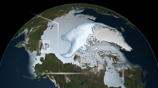 Creative AP Photo/Stocktrek Images A Outer Space   horizontal Planet Earth showing sea ice coverage in 2012.