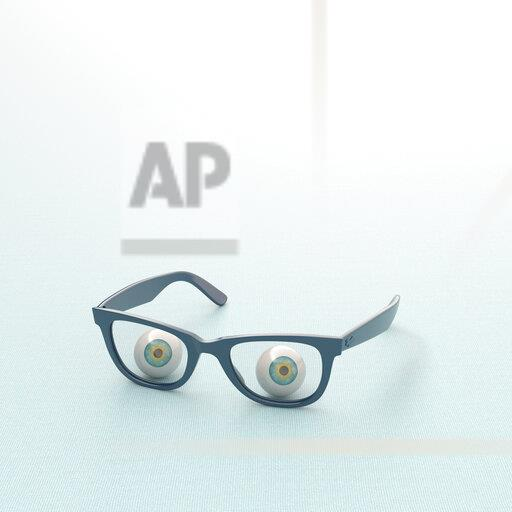 3D rendering, Glass eyeball looking through spectacles