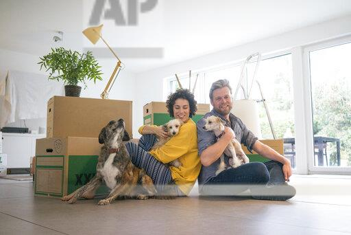 Happy couple sitting in living room with dogs and cardboard boxes