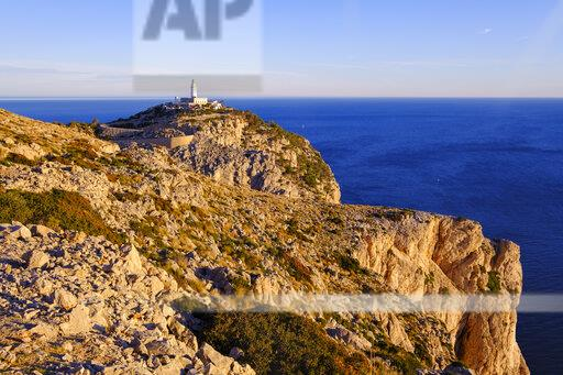 Spain, Mallorca, Aerial view of Formentor Lighthouse at dawn