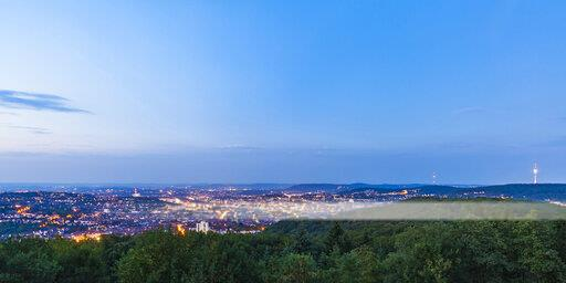 Germany, Baden-Wuerttemberg, Stuttgart, Cityscape with TV Tower at blue hour, View from Birkenkopf