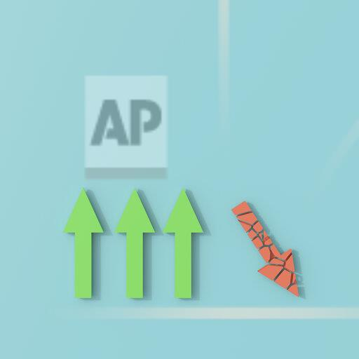 3D rendering, Arrow signs on blue background, on moving pointing down