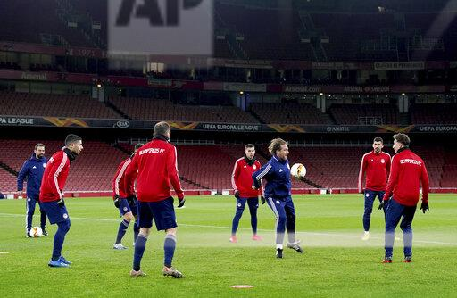 Olympiakos Training Session and Press Conference - Emirates Stadium