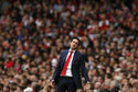 Arsenal manager Unai Emery reacts during the English Premier League soccer match between Arsenal and Manchester City at the Emirates stadium in London, England, Sunday, Aug. 12, 2018. (AP Photo/Tim Ireland)