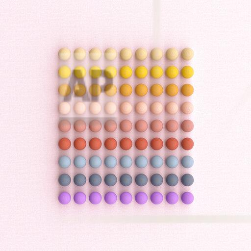 3D rendering, Square of rows of colorful wood balls