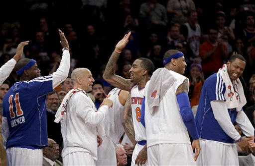 Ronnie Brewer, Jason Kidd, J.R. Smith, Carmelo Anthony, Marcus Camby