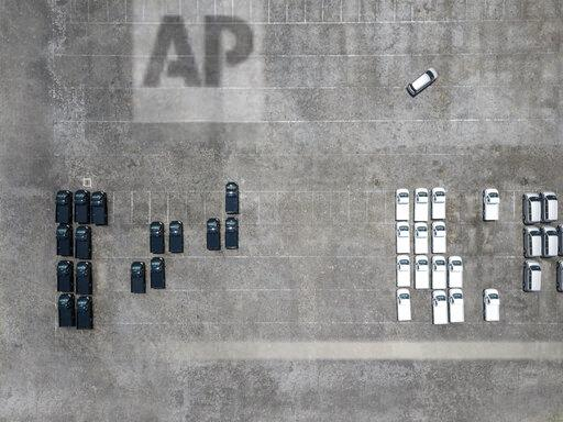 Indonesia, Bali, Aerial view of car park