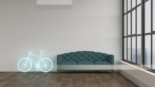 3D rendering, Hologram of bicycle in modern room, next to couch