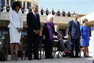 Barack Obama, George W. Bush, George H.W. Bush, Barbara Bush, Laura Bush