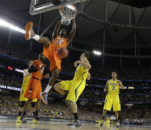 ball against Michigan during the second half of the NCAA Final Four    Michigan Basketball Final Four
