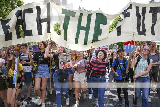 Youth protest for climate change in London, UK - 24 May 2019