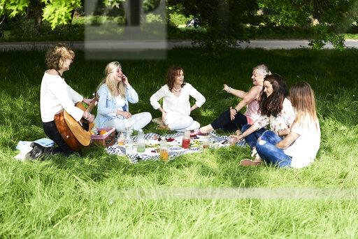 Group of women with guitar having fun at a picnic in park