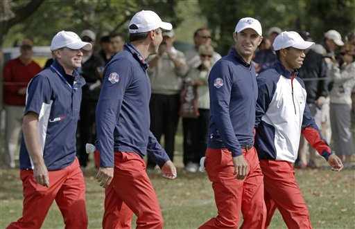 Steve Stricker, Matt Kuchar, Dustin Johnson, Tiger Woods