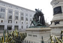 FILE - This March 2, 2018 file photo shows a statue that depicts a Native American at the feet of a Spanish cowboy and Catholic missionary in San Francisco. A San Francisco board has decided to remove the 19th-century statue that activists say is racist and demeaning to indigenous people. The San Francisco Board of Appeals voted Wednesday, Sept. 12, 2018, on the Early Days statue. (AP Photo/Jeff Chiu, File)
