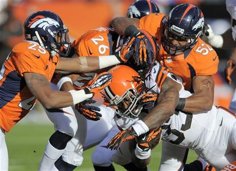 Chris Harris, Rahim Moore, Wesley Woodyard, Trent Richardson
