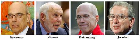 James Simons, Jeffrey Katzenberg, Fred Eychaner, Irwin Jacobs