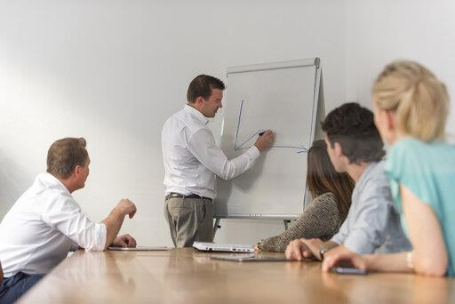 Businessman leading a presentation at flip chart in office