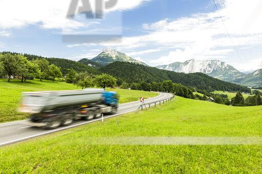 Austria, Styria, Loser window in the background, truck on federal highway