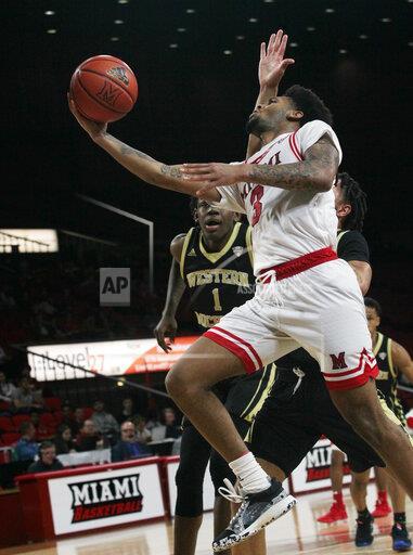 Miami (Oh) Redhawks vs Western Michigan Broncos on Tue Feb 4, 2020. As the Broncoe inthe game 64 to 60 in Oxford,Ohio.
