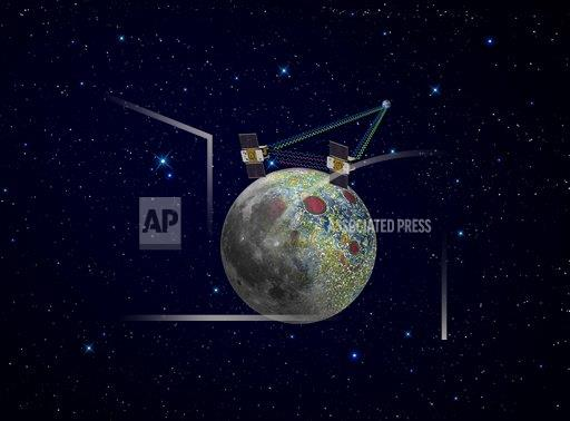 Creative AP T    horizontal Twin GRAIL spacecraft map the moon's gravity field.
