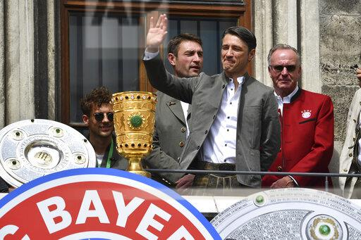 DFB Cup final 2019 FC Bayern Munich championship celebration on the Rathausbalkon / Marienplatz.