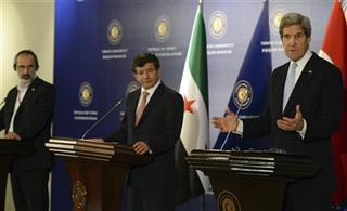 John Kerry, Ahmet Davutoglu, Moaz al-Khatib