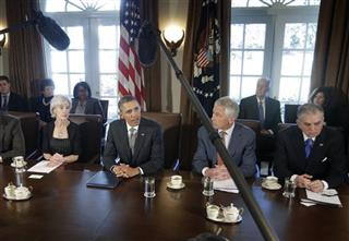 Barack Obama, Karen Mills, Arne Duncan, Kathleen Sebelius, Chuck Hagel, Ray LaHood, Janet Napolitano, Joe Biden, Jack Lew