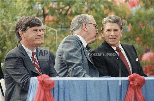 Watchf AP A  NC USA APHS391541 President Ronald Reagan with Jesse Helms