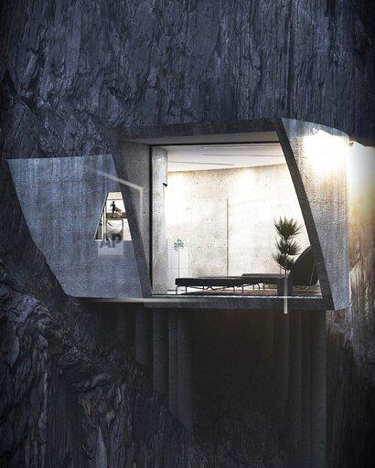 Live Like A Bond Villain In This Concrete Cliffside Home