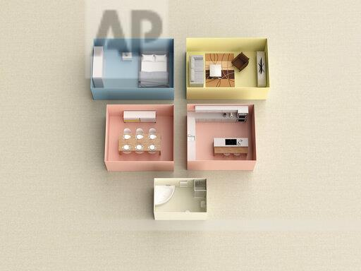 3D rendering, Miniature flat in boxes